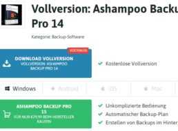 "Gratis: Vollversion ""Ashampoo Backup Pro 14"" zum Nulltarif"