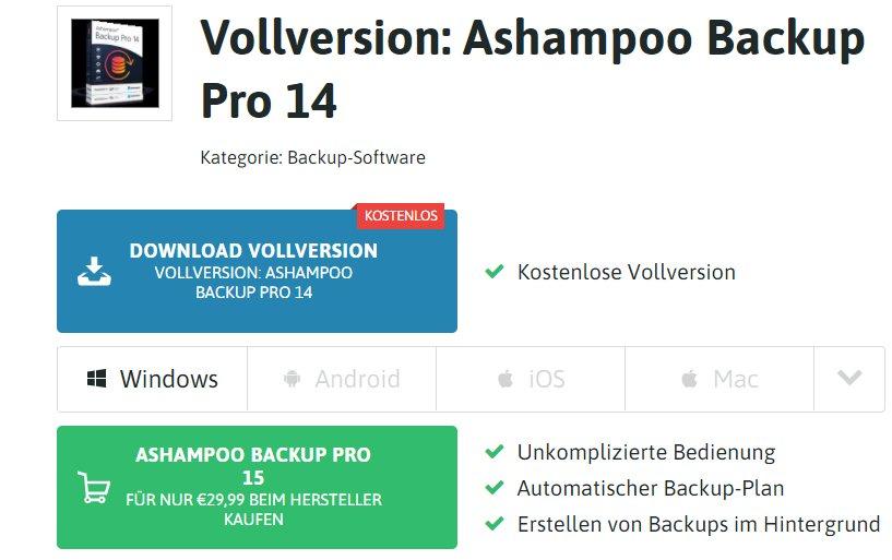 """Gratis: Vollversion """"Ashampoo Backup Pro 14"""" zum Nulltarif"""