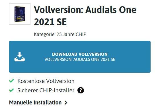 """Gratis: """"Audials One 2021 SE"""" via Chip zum Nulltarif"""