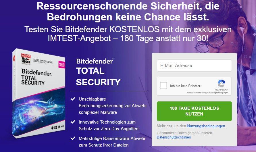 """Gratis: """"Bitdefender Total Security"""" für 180 Tage zum Nulltarif"""