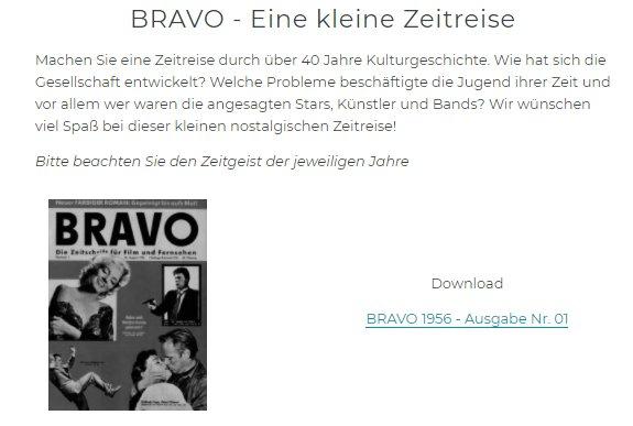 """Gratis: Erstausgaben der """"Bravo"""" aus 1956 bis 1994 als PDF"""
