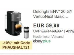 Ebay: Delonghi-Maschine mit Gratis-Travelmug für 53,99 Euro frei Haus