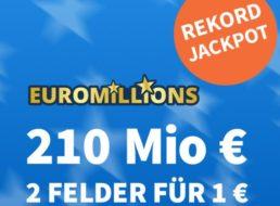 Euromillions: Rekordjackpot von 210 Millionen Euro