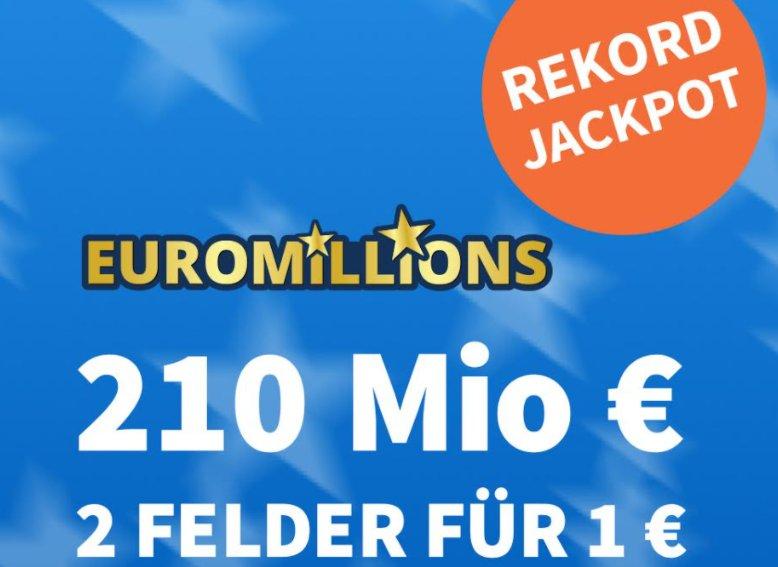 Euromillions: 2 Felder für 1 Euro beim Rekordjackpot von 210 Millionen Euro