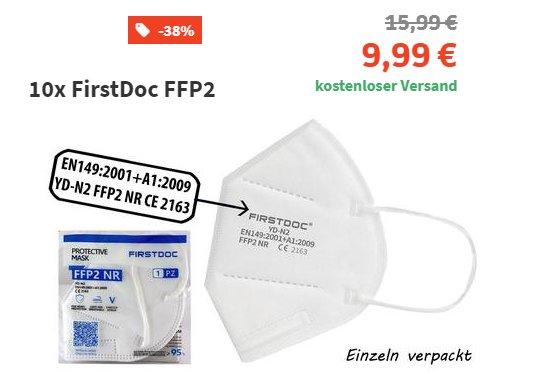 Völkner: 10er-Pack FFP2-Masken für 9,99 Euro frei Haus