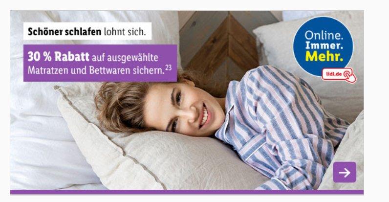 Lidl: 30 Prozent Rabatt auf Matratzen und Bettwäsche
