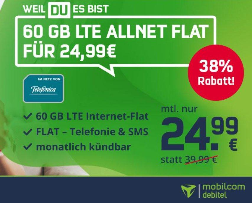 Mobilcom: Monatlich kündbare LTE-Flat mit 60 GByte für 24,99 Euro