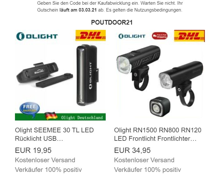 Olight: Sale auf Ebay mit 15 Prozent Rabatt auf alles