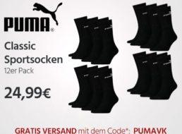 Puma: Zwölferpack Socken für 24,99 Euro frei Haus
