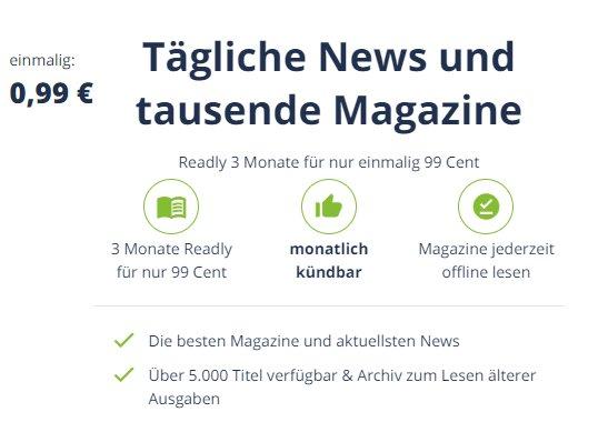 Readly: Drei Monate zum Pauschalpreis von 99 Cent statt 29,97 Euro