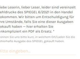 """Gratis: """"Der Spiegel"""" 06/2021 als PDF wegen Fehldruck zum Nulltarif"""