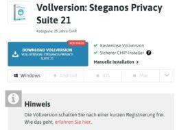 Gratis: Steganos Privacy Suite 21 zum Nulltarif