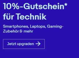 Ebay: 10 Prozent auf Technik von Lenovo, Samsung und anderen