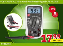 Völkner: Multimeter Voltcraft VC130-1 für 17,99 Euro frei Haus