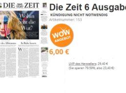 Die Zeit: Sechs Ausgaben mit automatischem Ende für 6 Euro
