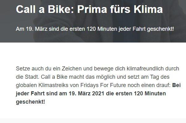 Call a Bike: Zwei Stunden gratis Rad fahren am 19. März