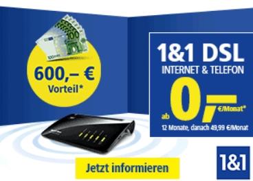 1&1: DSL 250 mit 600 Euro Rabatt und 8 Rufnummern