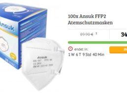 Dealclub: 100er-Pack FFP2-Masken für 34,99 Euro plus Versand