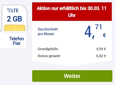 GMX: Allnet-Flat, SMS-Flat, LTE-Flat mit zwei GByte für 4,99 Euro