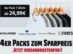 Jeans Direct: Viererpack Shirts ab 24,99 Euro frei Haus