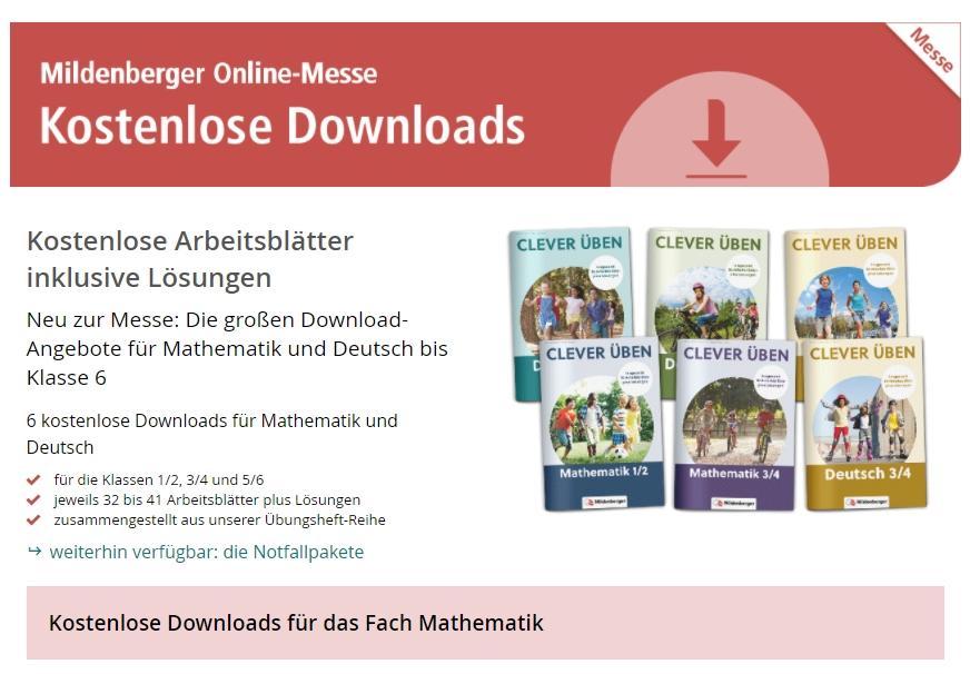 Gratis: Schul-Arbeitsblätter vom Mildenberger Verlag zum Nulltarif