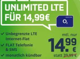 Mobilcom: Unlimitierte Datenflat, monatlich kündbar, für 14,99 Euro