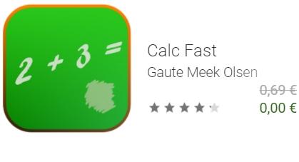 """Gratis: App """"Calc Fast"""" via Google Play zum Nulltarif"""