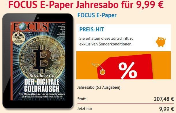 Focus: ePaper im Jahresabo für 9,99 statt 207,48 Euro