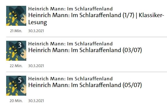 """Gratis: Hörbuch """"Im Schlaraffenland"""" von Heinrich Mann via ARD"""