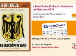 Der Spiegel: 13 Ausgaben für 75,40 Euro mit Gutschein über 65 Euro