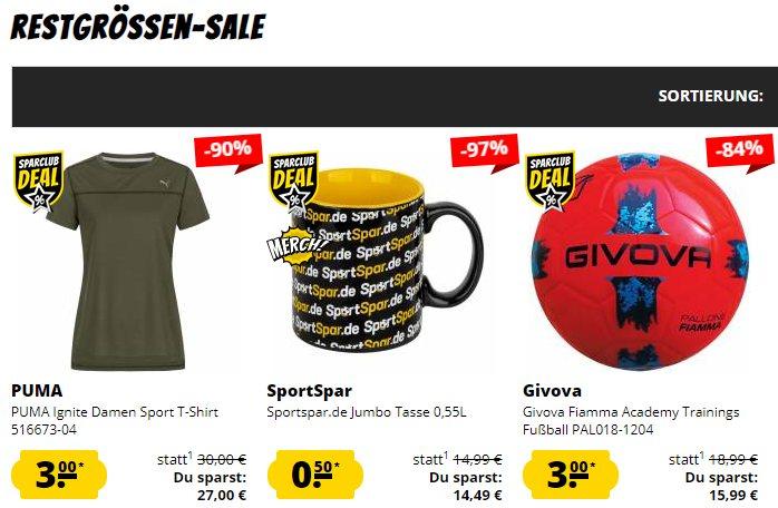 Sportspar: Restgrößen-Sale mit Artikeln ab 50 Cent