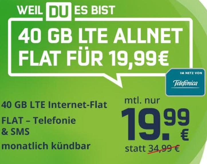 Knaller: 40 GByte LTE mit Gymondo für 19,99 Euro, monatlich kündbar