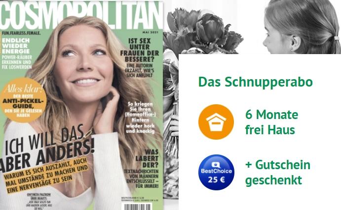 Cosmopolitan: Halbjahresabo für 22,80 Euro mit Gutschein über 25 Euro