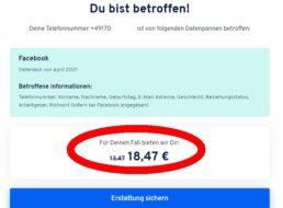 Facebook-Datenleck: 18,47 Euro Schadenersatz unkompliziert anfordern