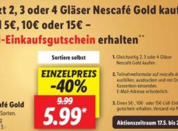 """Lidl: Einkaufsgutschein zu """"Nescafé Gold"""" geschenkt"""