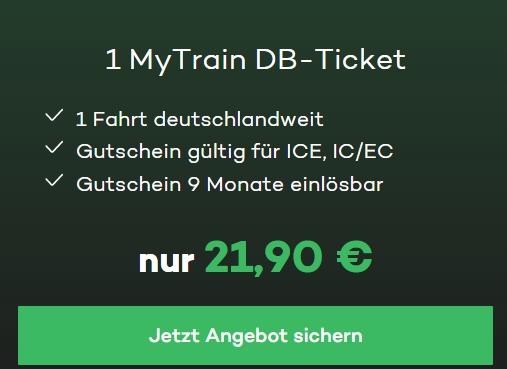 Mytrain: Deutschlandweite Bahnfahrt für pauschal 21,90 Euro
