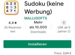 """Gratis: App """"Sudoku (keine Werbung)"""" bei Google Play zum Nulltarif"""