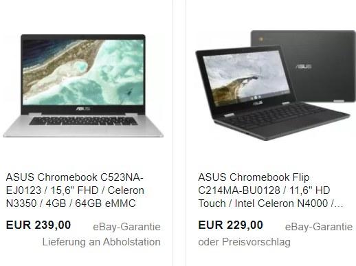 Ebay: Asus-Chromebook als B-Ware für 215,10 Euro frei Haus