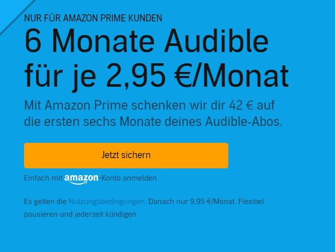 Prime Day: 6 Monate Audible für je 2,95 Euro