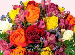 """Blumeideal: """"Blumenstrauß Farbtraum"""" mit Vase für 21,99 Euro"""