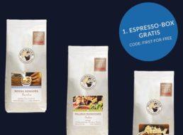 Gratis: Erste von drei Espressoboxen für 0 Euro frei Haus