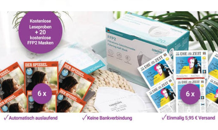 """Knaller: 6 Ausgaben """"Zeit"""" / """"Der Spiegel"""" mit 20 FFP2-Masken für 5,95 Euro"""