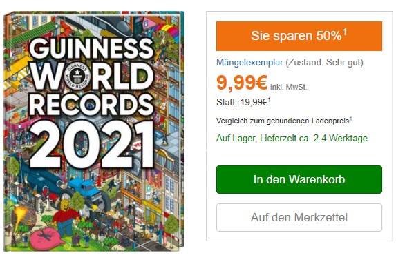 """Exklusiv: """"Guiness Buch der Rekorde 2021"""" mit Mängeln für 9,99 Euro frei Haus"""