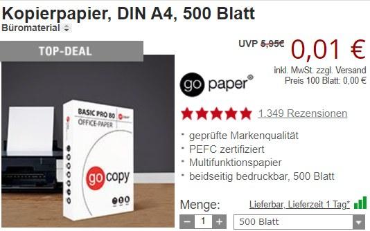 Druckerzubehoer: Kopierpapier für 1 Cent, Pfanne für 4,99 Euro