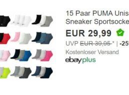 Puma: 15 Paar Socken für 29,99 Euro via Ebay