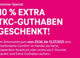 Telekom: 10 Prozent Guthaben geschenkt beim Kauf der Telefonkarte Comfort