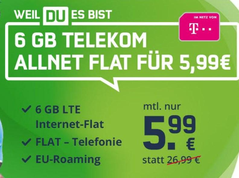 LTE-Flat: 6 GByte im Telekom-Netz für 5,99 Euro