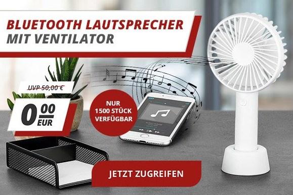 Gratis: Bluetooth-Lautsprecher mit Ventilator zur Bestellung geschenkt