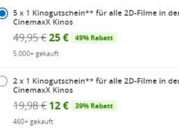 Cinemaxx: Fünferpack Kinotickets für 25 Euro
