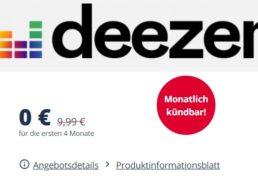 Wieder da: 4 Monate Deezer Premium für 0 Euro